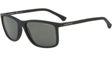 Sunglasses - Emporio Armani - EA4058 - 56539A BLACK RUBBER // GREEN POLARIZED