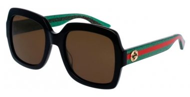 Sunglasses - Gucci - GG0036S - 002 BLACK GREEN // BROWN