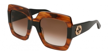 Gafas de Sol - Gucci - GG0178S - 004 HAVANA BLACK // BROWN GRADIENT