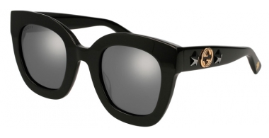 Sunglasses - Gucci - GG0208S - 002 BLACK // GREY MIRROR