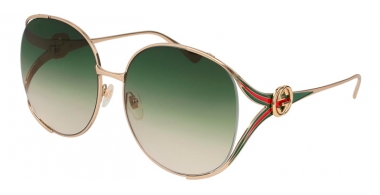 Sunglasses - Gucci - GG0225S - 003 GOLD // GREEN GRADIENT