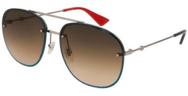 Sunglasses - Gucci - GG0227S - 002 RUTHENIUM  BLUE // BROWN GRADIENT