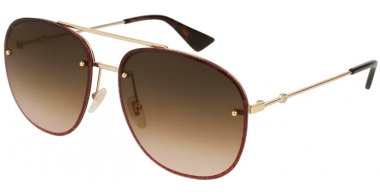 Sunglasses - Gucci - GG0227S - 003 GOLD BURGUNDY // BROWN GRADIENT