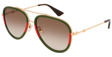 Sunglasses - Gucci - GG0062S - 008 GREEN RED GOLD // BROWN GRADIENT