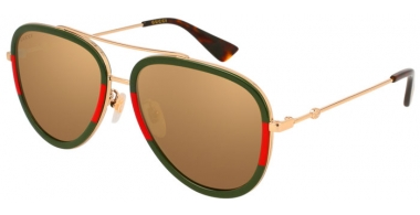 Sunglasses - Gucci - GG0062S - 010 GREEN RED GOLD // GOLD MIRROR