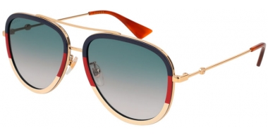 Sunglasses - Gucci - GG0062S - 013 BLUE RED GOLD // BLUE GRADIENT