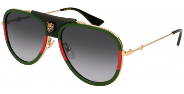 Sunglasses - Gucci - GG0062S - 015 GREEN RED GOLD // GREY GRADIENT