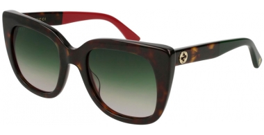 Sunglasses - Gucci - GG0163S - 004 HAVANA // GREEN GRADIENT