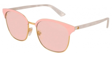 Sunglasses - Gucci - GG0244S - 002 GOLD PINK WHITE // PINK