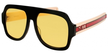 Sunglasses - Gucci - GG0255S - 002 BLACK IVORY // YELLOW