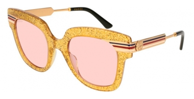 Sunglasses - Gucci - GG0281S - 004 GOLD // PINK