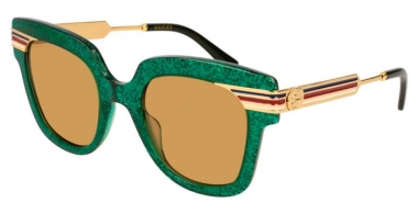Sunglasses - Gucci - GG0281S - 006 GREEN GOLD // BROWN