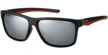 Sunglasses - Polaroid Sport - PLD 7014/S - OIT (EX) BLACK RED // GREY SILVER FLASH POLARIZED