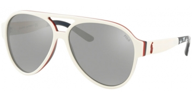 Sunglasses - POLO Ralph Lauren - PH4130 - 57406G WHITE // SILVER MIRROR