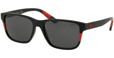 Sunglasses - POLO Ralph Lauren - PH4137 - 528487 MATTE BLACK RED // GREY