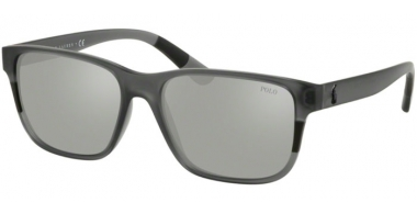 Sunglasses - POLO Ralph Lauren - PH4137 - 56966G MATTE TRANSPARENT BLACK // SILVER MIRROR