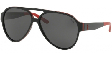 Sunglasses - POLO Ralph Lauren - PH4130 - 566887 BLACK RED BLACK // GREY