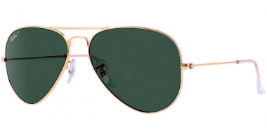 Gafas de Sol - Ray-Ban® - Ray-Ban® RB3025 AVIATOR LARGE METAL - 001/58 GOLD // CRYSTAL GREEN POLARIZED
