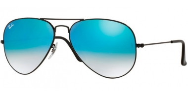 Gafas de Sol - Ray-Ban® - Ray-Ban® RB3025 AVIATOR LARGE METAL - 002/4O SHINY BLACK // MIRROR BLUE GRADIENT