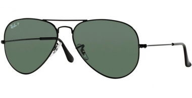 Gafas de Sol - Ray-Ban® - Ray-Ban® RB3025 AVIATOR LARGE METAL - 002/58  BLACK // CRYSTAL GREEN POLARIZED