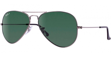 Gafas de Sol - Ray-Ban® - Ray-Ban® RB3025 AVIATOR LARGE METAL - 004/58  GUNMETAL // CRYSTAL GREEN POLARIZED
