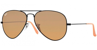 Gafas de Sol - Ray-Ban® - Ray-Ban® RB3025 AVIATOR LARGE METAL - 006/3K MATTE BLACK // BROWN SILVER MIRROR