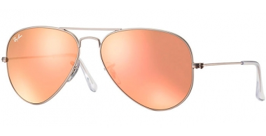 Gafas de Sol - Ray-Ban® - Ray-Ban® RB3025 AVIATOR LARGE METAL - 019/Z2 MATTE SILVER // BROWN MIRROR PINK