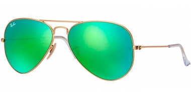 Gafas de Sol - Ray-Ban® - Ray-Ban® RB3025 AVIATOR LARGE METAL - 112/19 MATTE GOLD // CRYSTAL GREEN MIRROR MULTILAYER GREEN