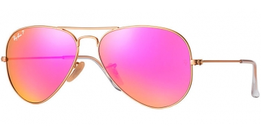 Gafas de Sol - Ray-Ban® - Ray-Ban® RB3025 AVIATOR LARGE METAL - 112/1Q MATTE GOLD  // BROWN MIRROR FUCSIA POLARIZED