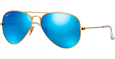 Gafas de Sol - Ray-Ban® - Ray-Ban® RB3025 AVIATOR LARGE METAL - 112/4L  MATTE GOLD // BLUE MIRROR POLARIZED