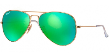Gafas de Sol - Ray-Ban® - Ray-Ban® RB3025 AVIATOR LARGE METAL - 112/P9  MATTE GOLD // GREEN MIRROR POLARIZED