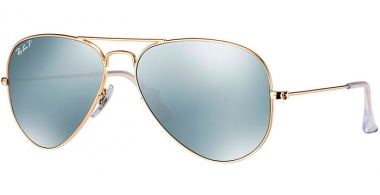 Gafas de Sol - Ray-Ban® - Ray-Ban® RB3025 AVIATOR LARGE METAL - 112/W3 MATTE GOLD // DARK GREY MIRROR POLARIZED