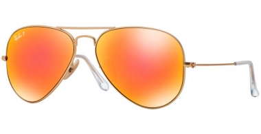 Gafas de Sol - Ray-Ban® - Ray-Ban® RB3025 AVIATOR LARGE METAL - 112/4D  MATTE GOLD // BROWN MIRROR RED POLARIZED