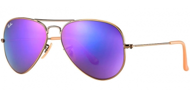 Gafas de Sol - Ray-Ban® - Ray-Ban® RB3025 AVIATOR LARGE METAL - 167/1M BRUSHED BRONZE DEMI SHINY // GREY MIRROR PURPLE
