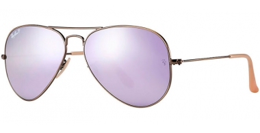 Gafas de Sol - Ray-Ban® - Ray-Ban® RB3025 AVIATOR LARGE METAL - 167/1R BRUSHED BRONZE DEMISHINY // GREY MIRROR LILAC POLARIZED