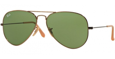 Gafas de Sol - Ray-Ban® - Ray-Ban® RB3025 AVIATOR LARGE METAL - 177/4E ANTIQUE GOLD // GREEN