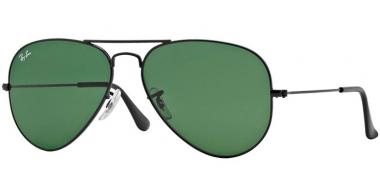 8477bfe2c7 Ray-Ban® RB3025 AVIATOR LARGE METAL L2823. BLACK // CRYSTAL GREEN. Gafas de  Sol ...