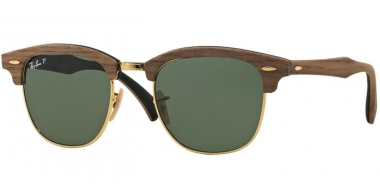 Sunglasses - Ray-Ban® - Ray-Ban® RB3016M CLUBMASTER WOOD - 118158 WALNUT RUBBER BLACK // GREEN POLARIZED