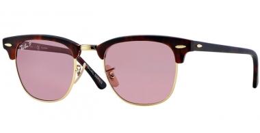 Sunglasses - Ray-Ban® - Ray-Ban® RB3016 CLUBMASTER - 114515 MATTE RED HAVANA // PINK POLARIZED