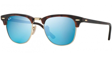 Sunglasses - Ray-Ban® - Ray-Ban® RB3016 CLUBMASTER - 114517 SAND HAVANA GOLD // GREY MIRROR BLUE
