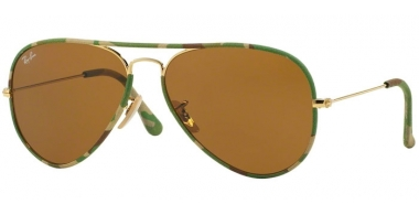 Sunglasses - Ray-Ban® - Ray-Ban® RB3025JM AVIATOR FULL COLOR - 169 CAMOUFLAGE GREEN GOLD // BROWN