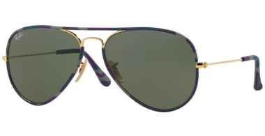 Sunglasses - Ray-Ban® - Ray-Ban® RB3025JM AVIATOR FULL COLOR - 172 CAMOUFLAGE BLUE GOLD // GREEN