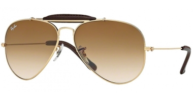 Gafas de Sol - Ray-Ban® - Ray-Ban® RB3422Q AVIATOR CRAFT - 001/51 ARISTA BROWN LEATHER // CRYSTAL BROWN GRADIENT