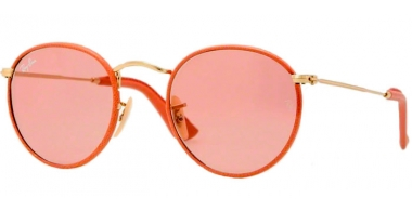 Sunglasses - Ray-Ban® - Ray-Ban® RB3475Q ROUND CRAFT - 001/4B ARISTA ANTIQUE PINK LEATHER // CRYSTAL RED PHOTOCROMIC