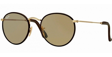 Sunglasses - Ray-Ban® - Ray-Ban® RB3475Q ROUND CRAFT - 112/53 MATTE GOLD BROWN LEATHER // CRYSTAL BROWN