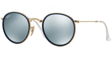 Sunglasses - Ray-Ban® - Ray-Ban® RB3517 ROUND FOLDING - 001/30 BLUE GOLD // GREEN MIRROR SILVER