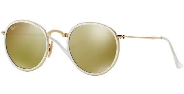 Sunglasses - Ray-Ban® - Ray-Ban® RB3517 ROUND FOLDING - 001/93 WHITE GOLD // BROWN MIRROR GOLD