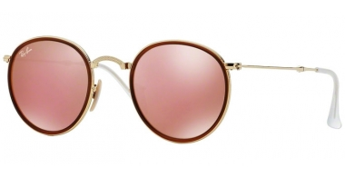 Sunglasses - Ray-Ban® - Ray-Ban® RB3517 ROUND FOLDING - 001/Z2 GOLD // BROWN MIRROR PINK