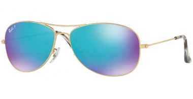Sunglasses - Ray-Ban® - Ray-Ban® RB3562 - 112/A1 MATTE GOLD // BLUE MIRROR POLARIZED