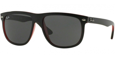 Sunglasses - Ray-Ban® - Ray-Ban® RB4147 - 617187 TOP MATTE BLACK ON RED TRASPARENT // DARK GREY